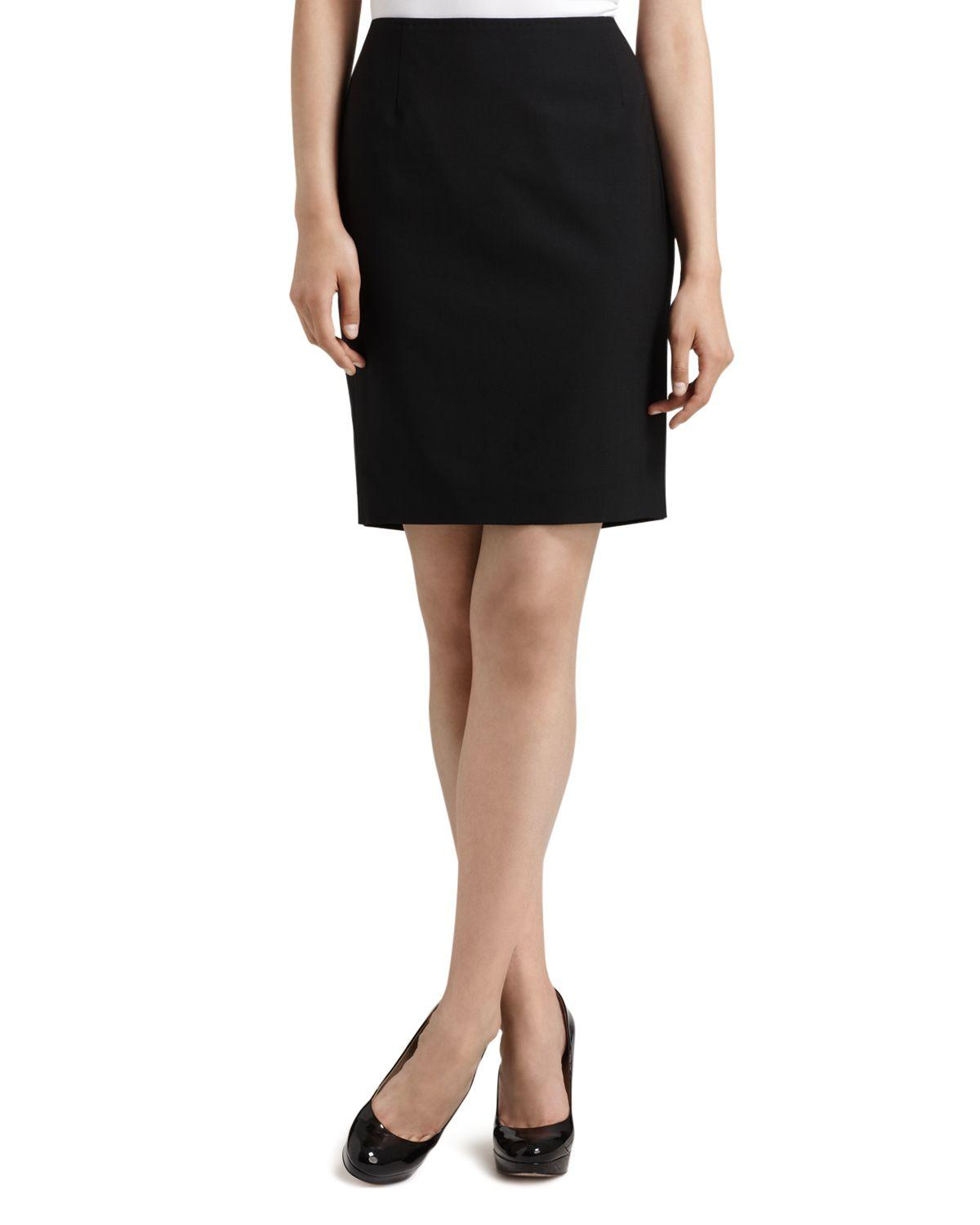 elie tahari quot bennet quot stretch wool pencil skirt in black lyst