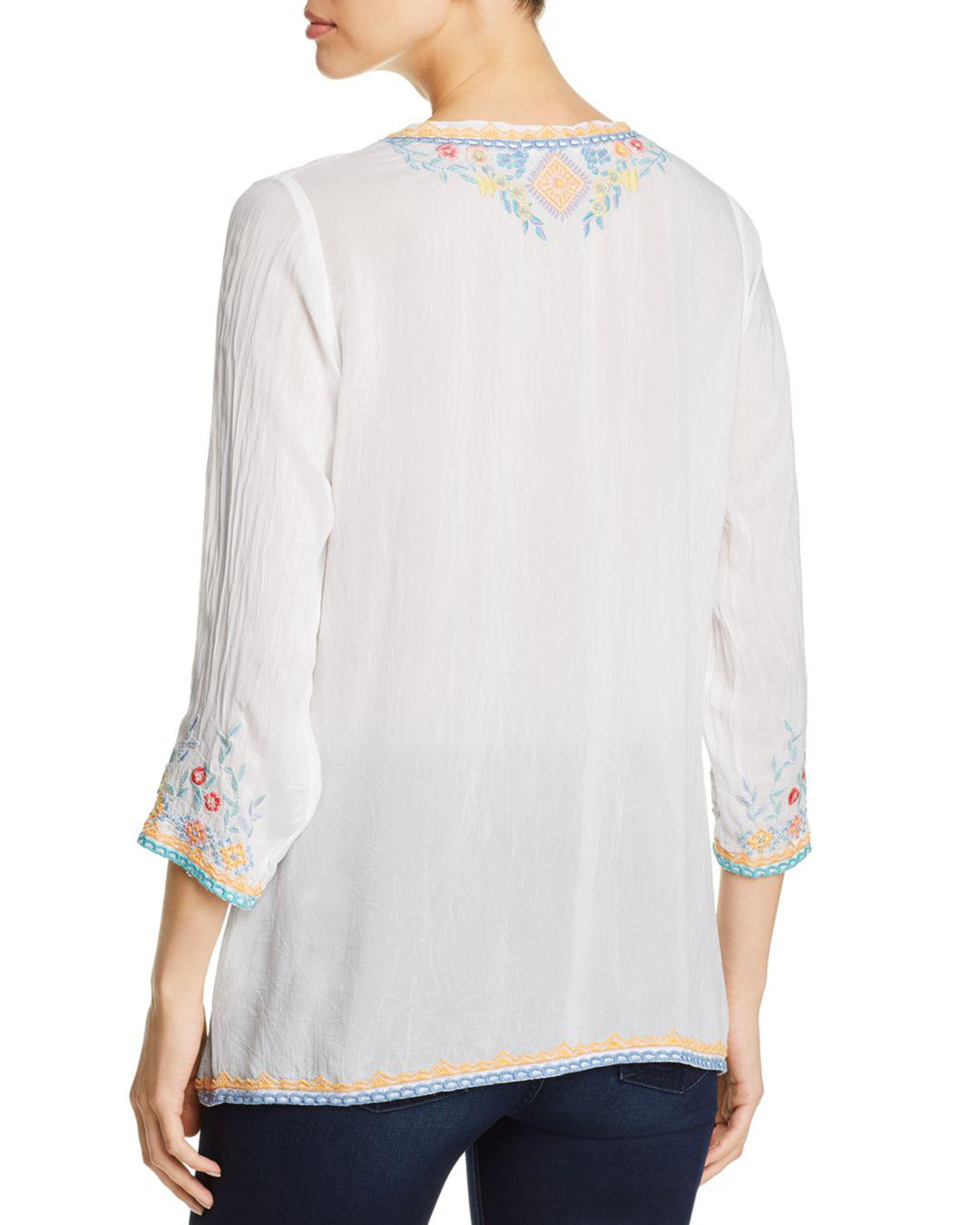 ad5c9bf265b8e6 Lyst - Johnny Was Ryleigh Embroidered Blouse in White