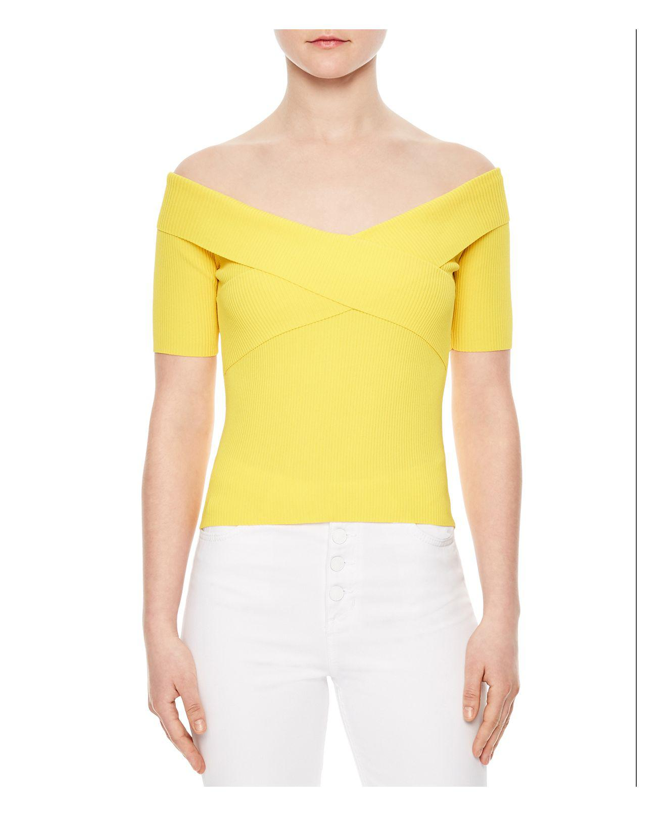 Sandro Galina Off-the-shoulder Sweater in Yellow | Lyst