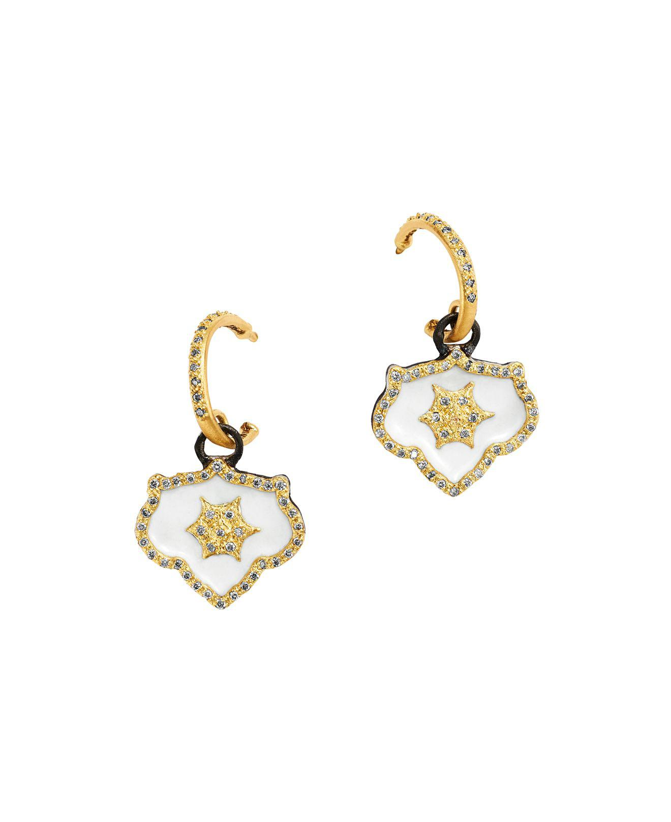 Armenta Old World Midnight Small Shield Earrings with Champagne Diamonds fXDUQya
