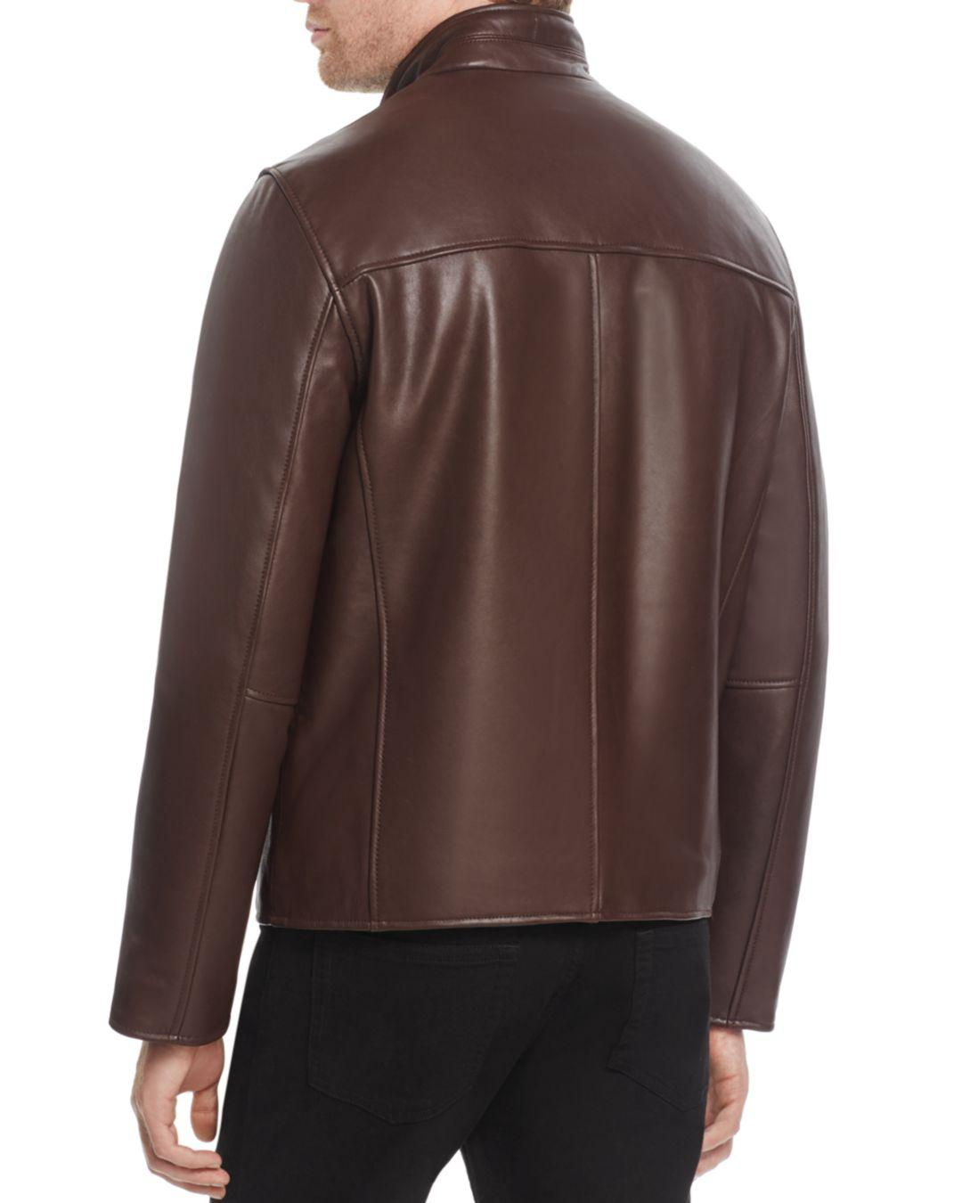 f8681ff01d Lyst - Cole Haan Zip-front Leather Jacket in Brown for Men