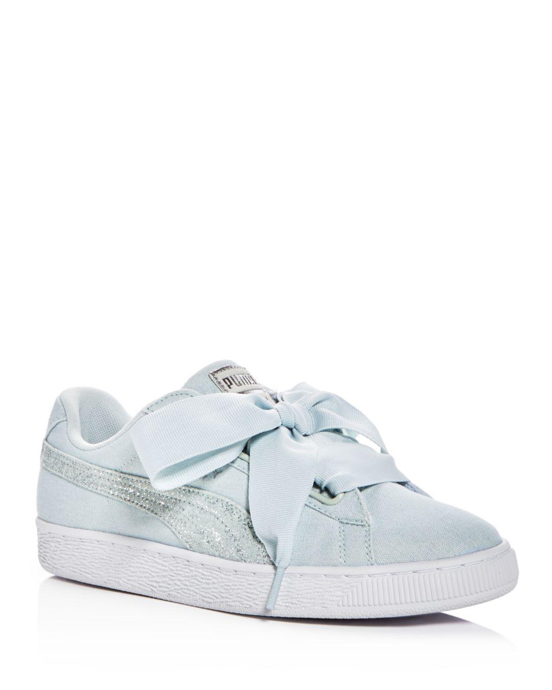 Lyst - PUMA Women s Basket Heart Canvas   Glitter Lace Up Sneakers ... d2308fbc5