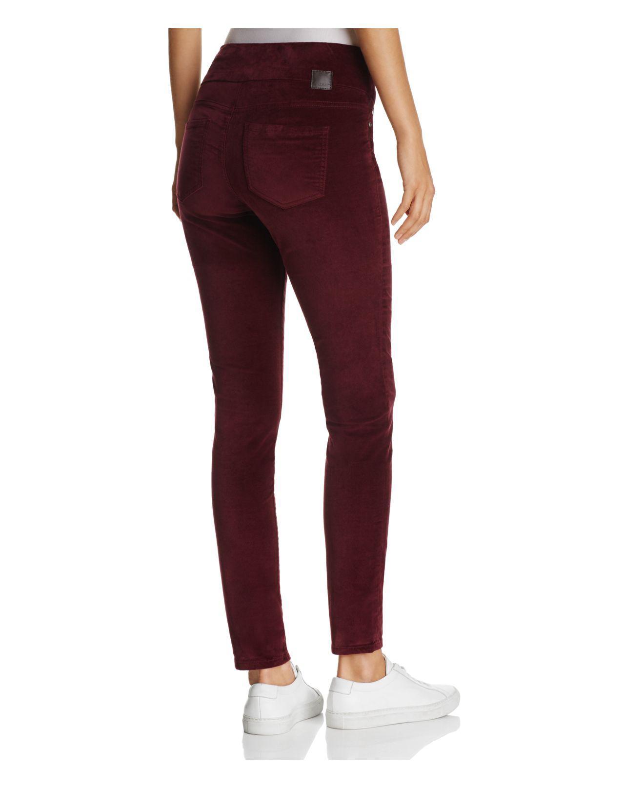 Jag Jeans Nora Skinny Velvet Leggings In Black in Red