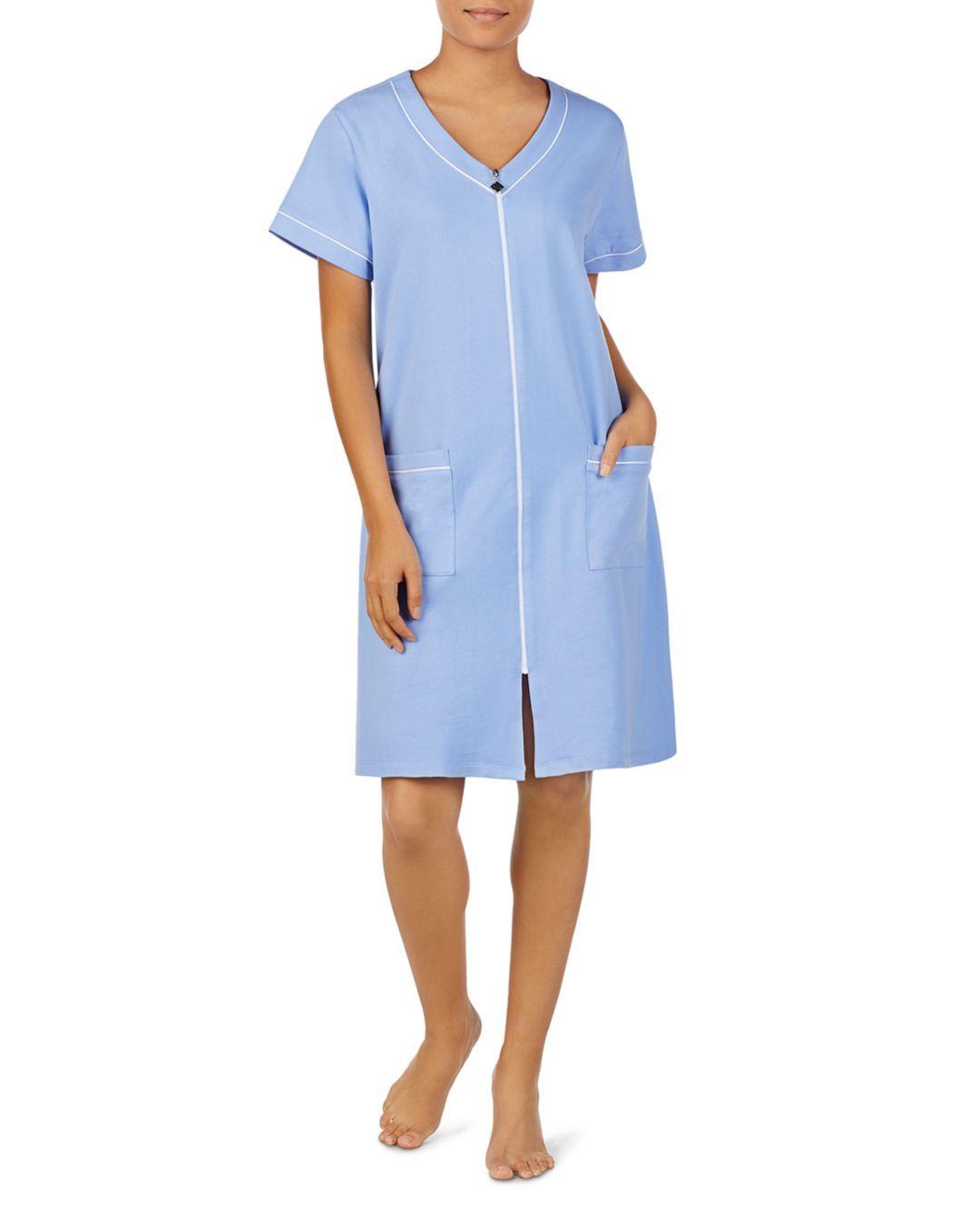 9bcd2722db Lyst - Eileen West Short Zip Robe in Blue