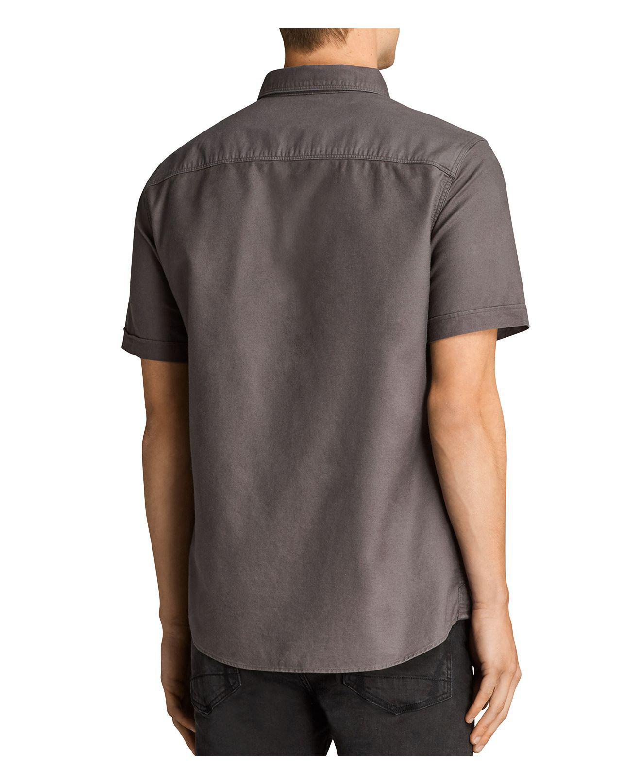 Lyst allsaints hungtingdon slim fit button down shirt in for Slim button down shirt