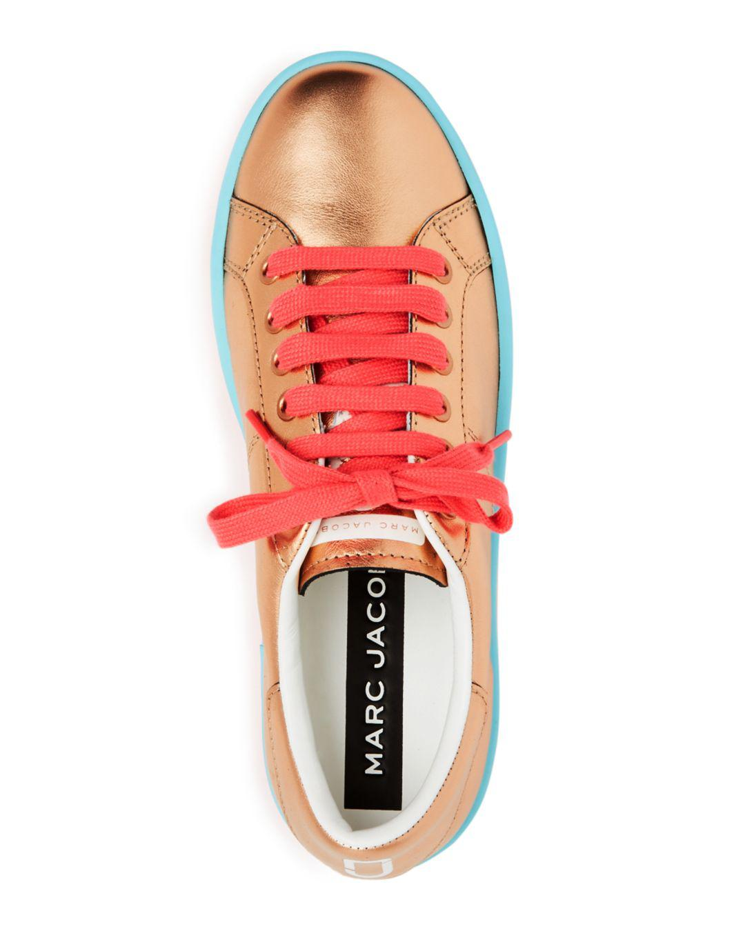 Marc Jacobs Women's Empire Leather Lace Up Platform Sneakers in Rose Gold (Pink)