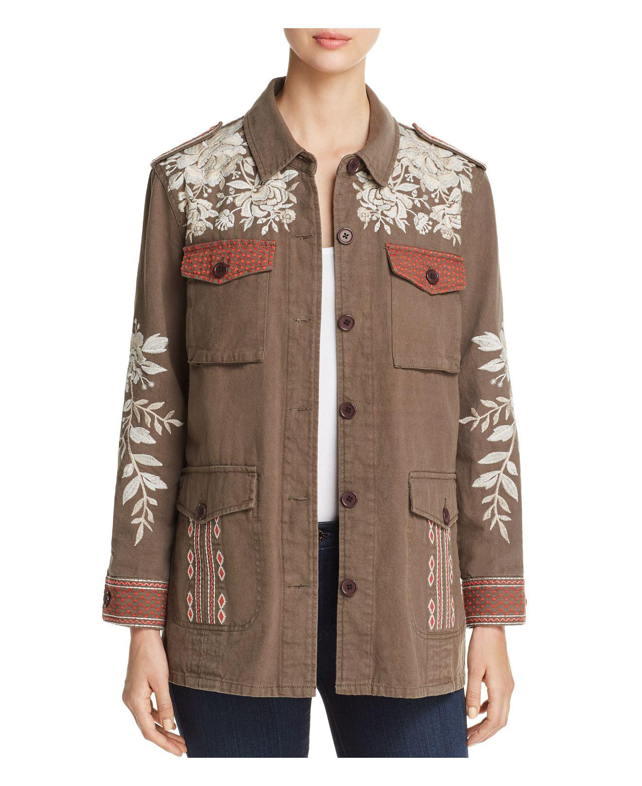 Johnny Was Surya Embroidered Military Jacket - Lyst