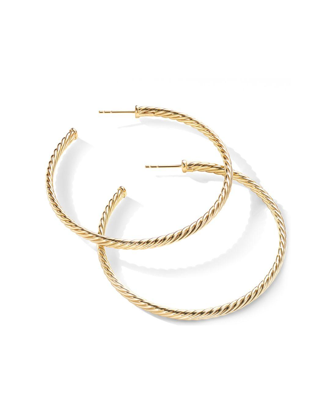 fbf966d52395 Lyst - David Yurman 18k Yellow Gold Cable Spiral Hoop Earrings in Metallic
