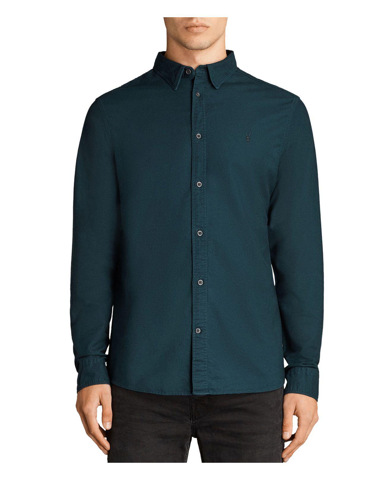 Lyst allsaints huntingdon slim fit button down shirt in for Slim button down shirt