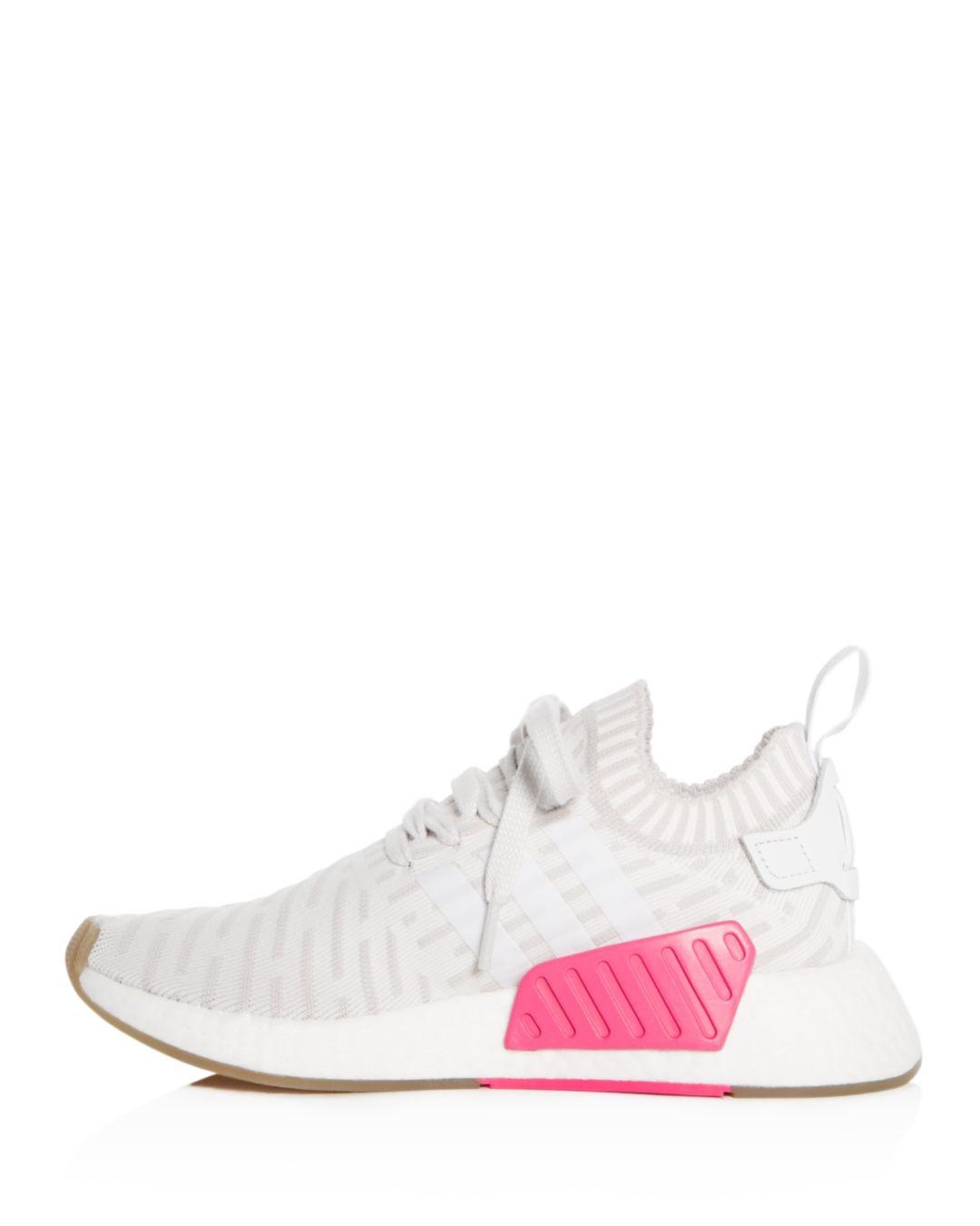 51585430d62d4 Lyst - adidas Women s Nmd R2 Knit Lace Up Sneakers in White