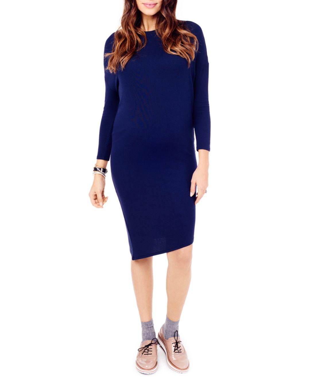 6a076af8b2c Lyst - Ingrid   Isabel Maternity Asymmetric Midi Dress in Blue