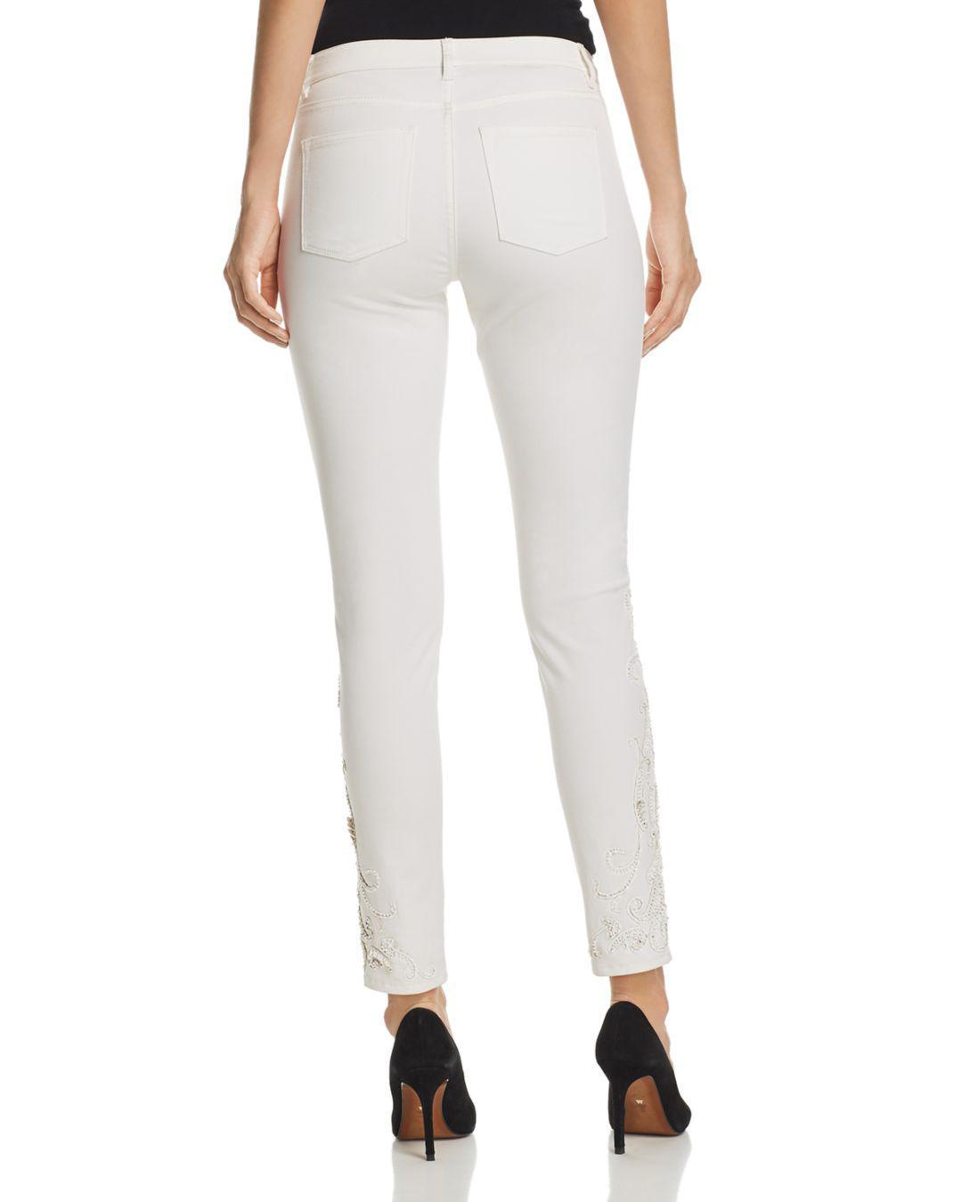 Elie Tahari Denim Azella Embellished Jeans In White