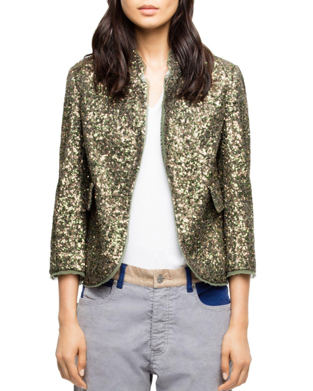 Zadig Voltaire Verys Sequin Jacket L Green