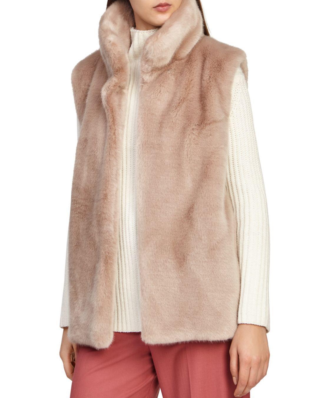 Reiss. Women s Fay Faux-fur Vest b001794bc02e8