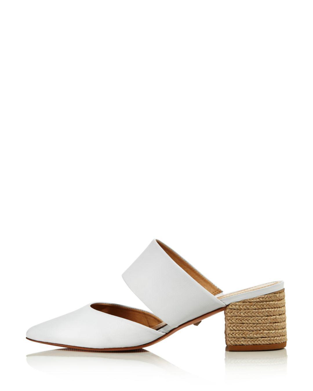 1d518e1ff211d Schutz White Women's Deliana Pointed Toe Leather Block Heel Mules