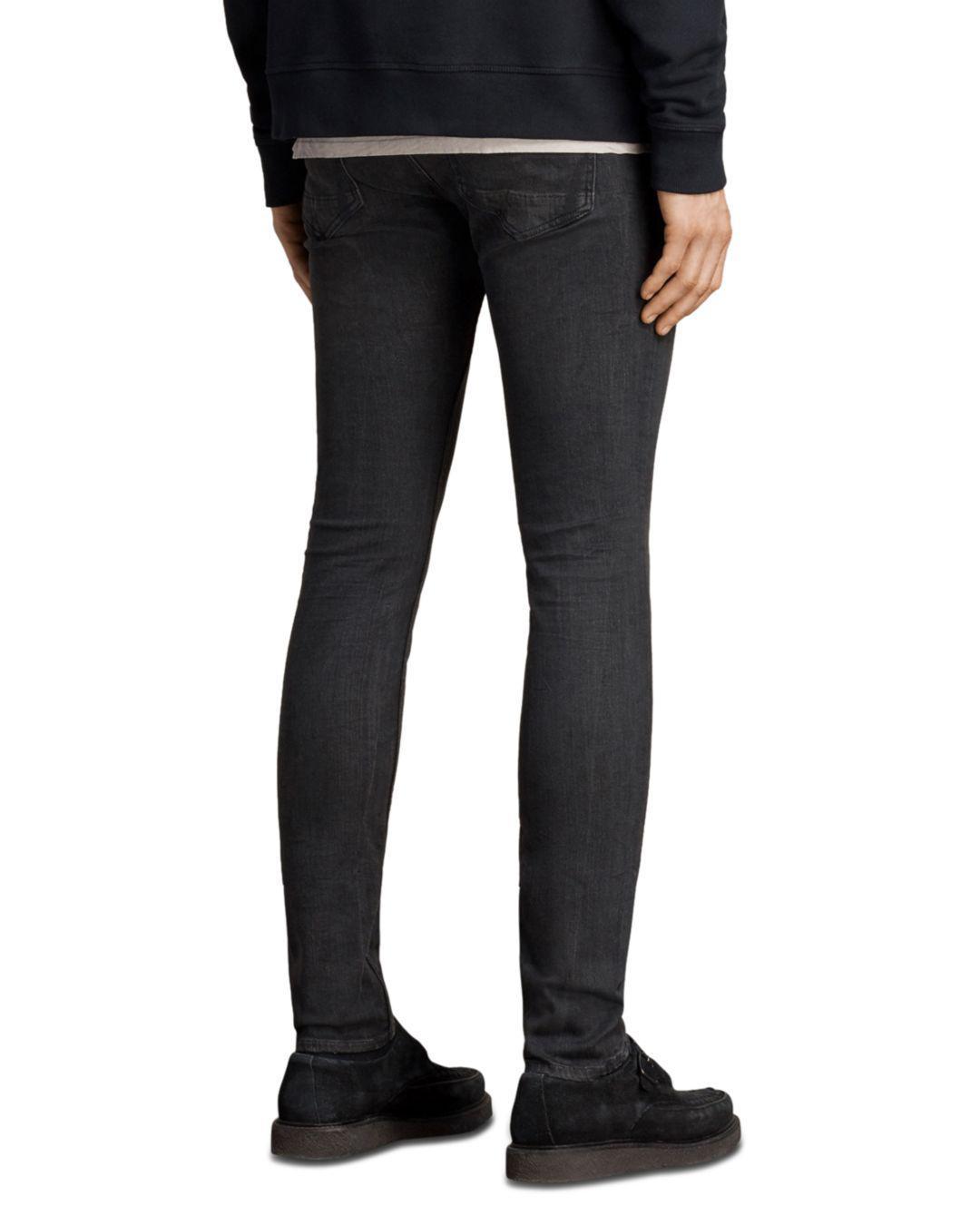 AllSaints Denim Print Cigarette Slim Fit Jeans In Black for Men