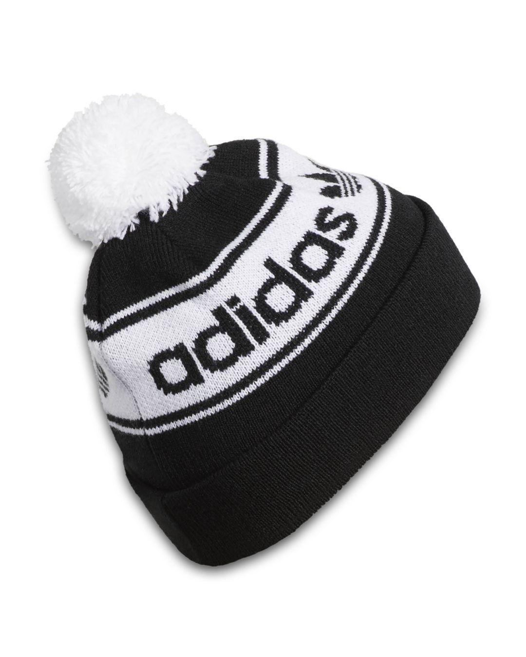 5ef1ce67d Adidas Originals Black Logo-stripe Pom-pom Beanie for men