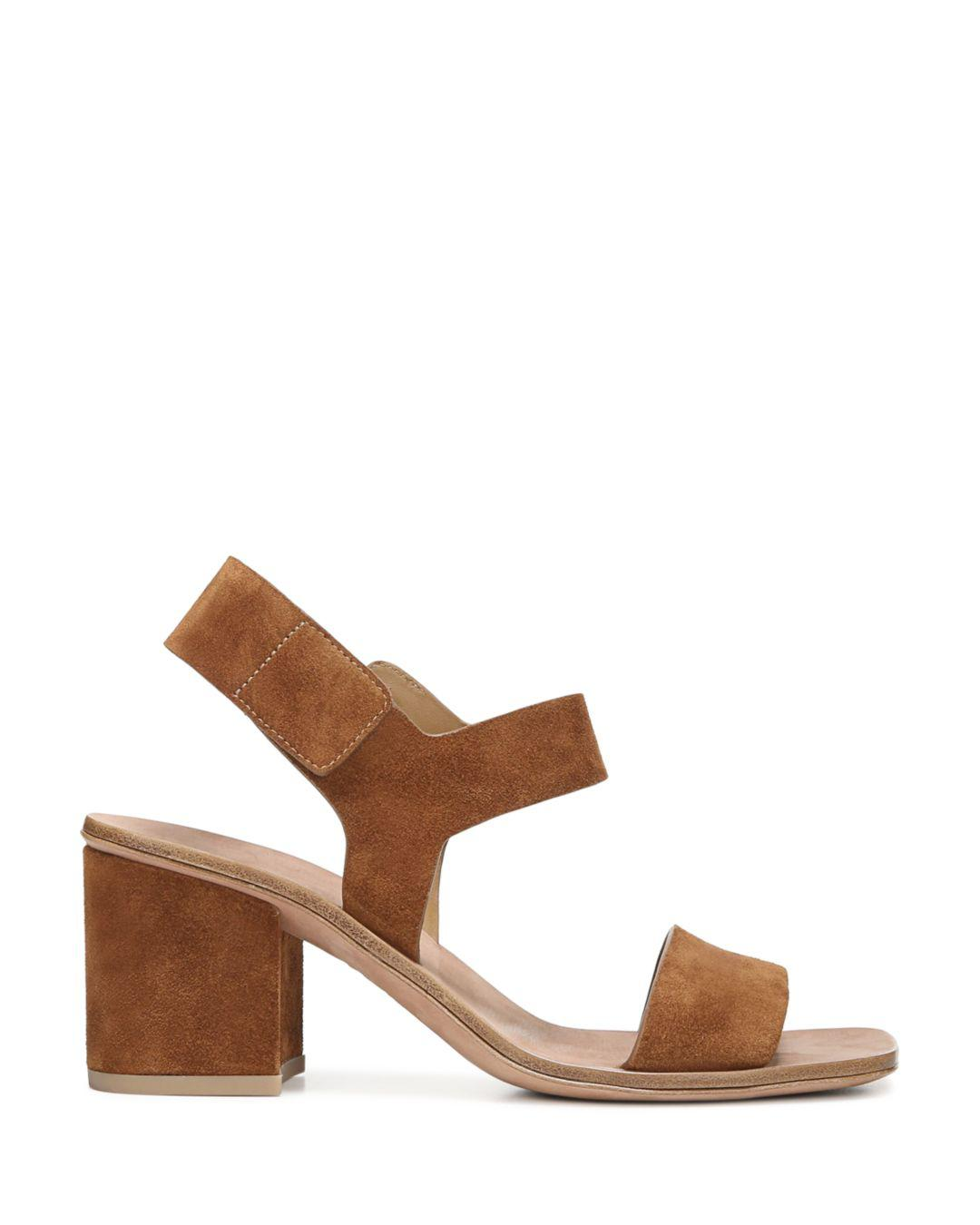 9c0e819791e Lyst - Via Spiga Women s Kamille Suede Block Heel Ankle Strap Sandals in  Brown - Save 19%