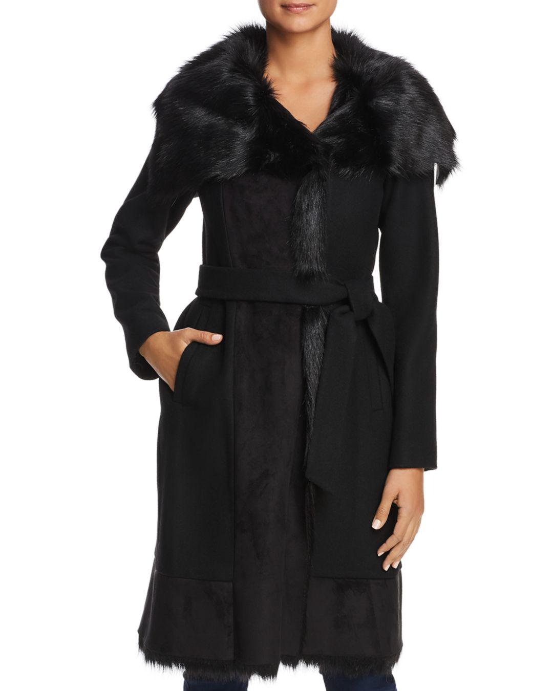 Vince Camuto Faux Fur Trim Belted Wrap Coat In Black Lyst