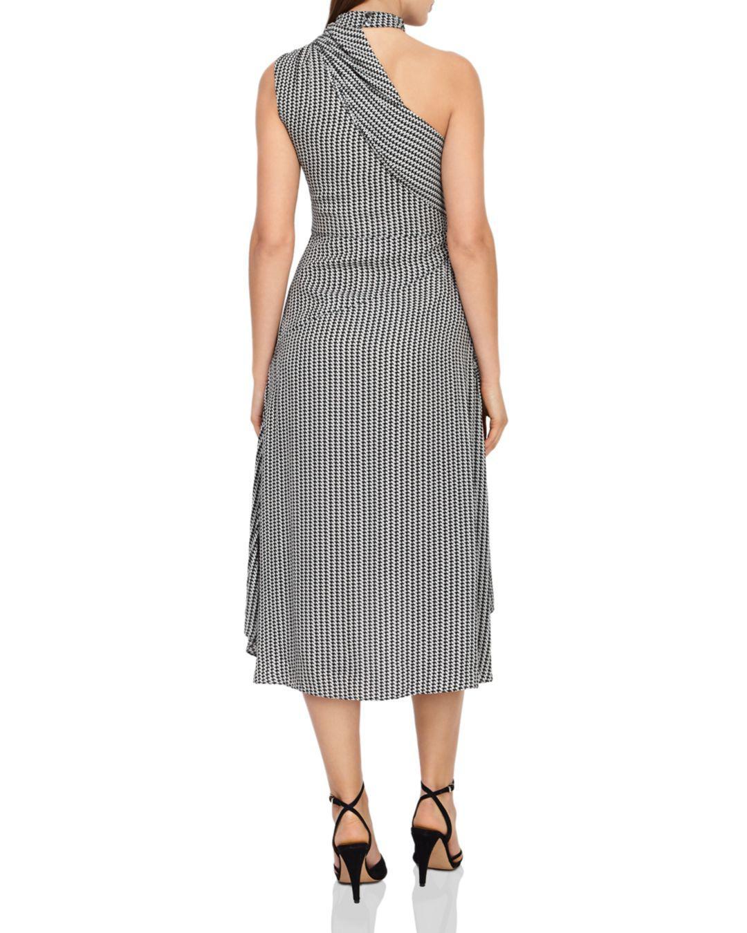 5e41c775e6 Lyst - Reiss Adelia Asymmetric Houndstooth Dress in Gray