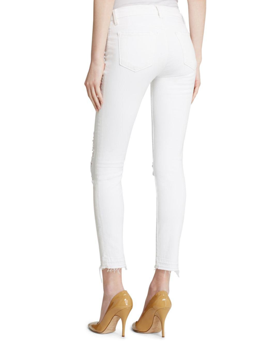 J Brand Denim Jeans - Low Rise Ankle Skinny In Demented in White