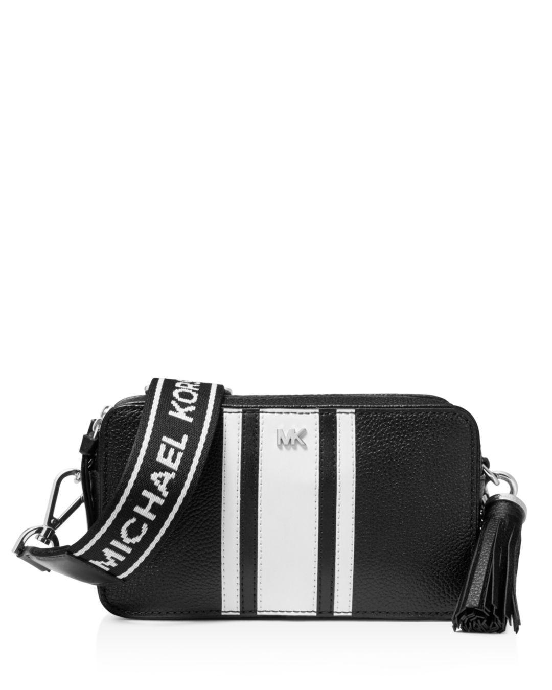 a4d0cd2eb9b8 Lyst - Michael Kors Michael Logo Pebble Leather Camera Bag in Black ...