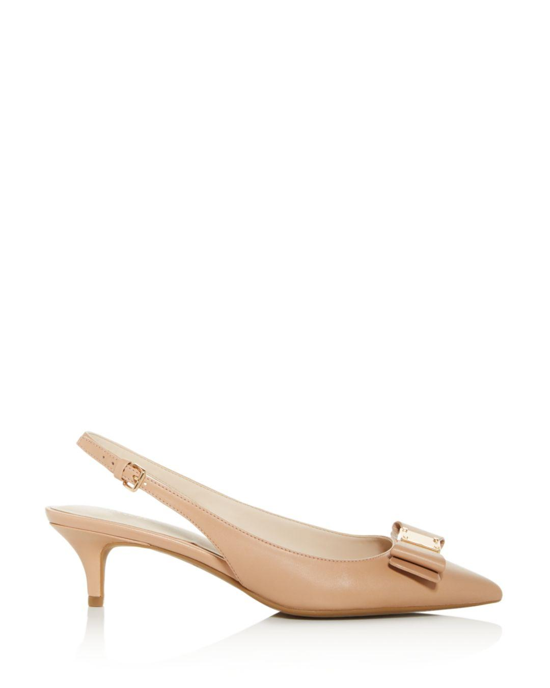 4170ae43447 Lyst - Cole Haan Women s Tali Bow Slingback Pumps in Natural - Save 30%
