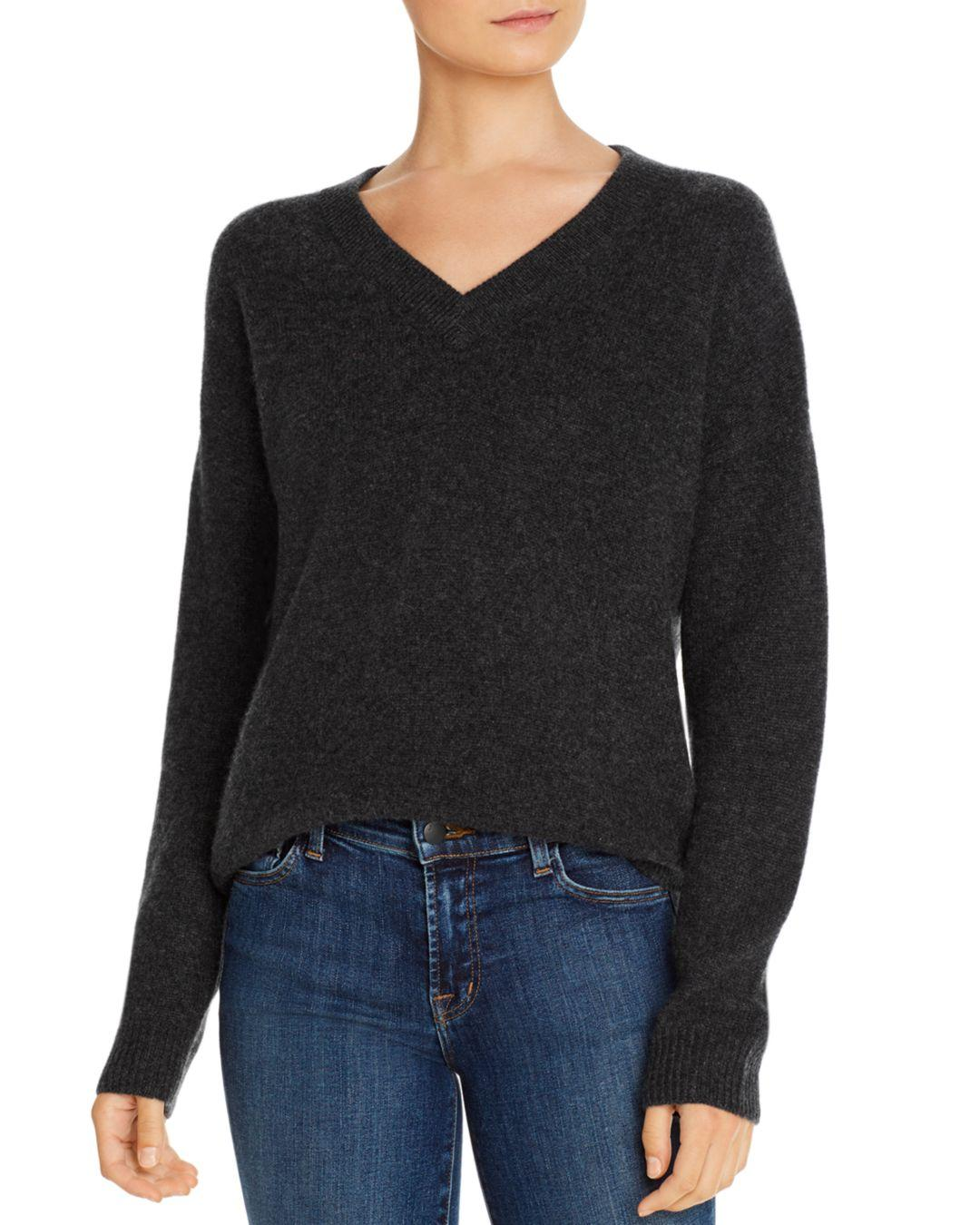 Michael Stars Womens Cashmere Blend Long Sleeve Soft V-Neck with Exposed Seams