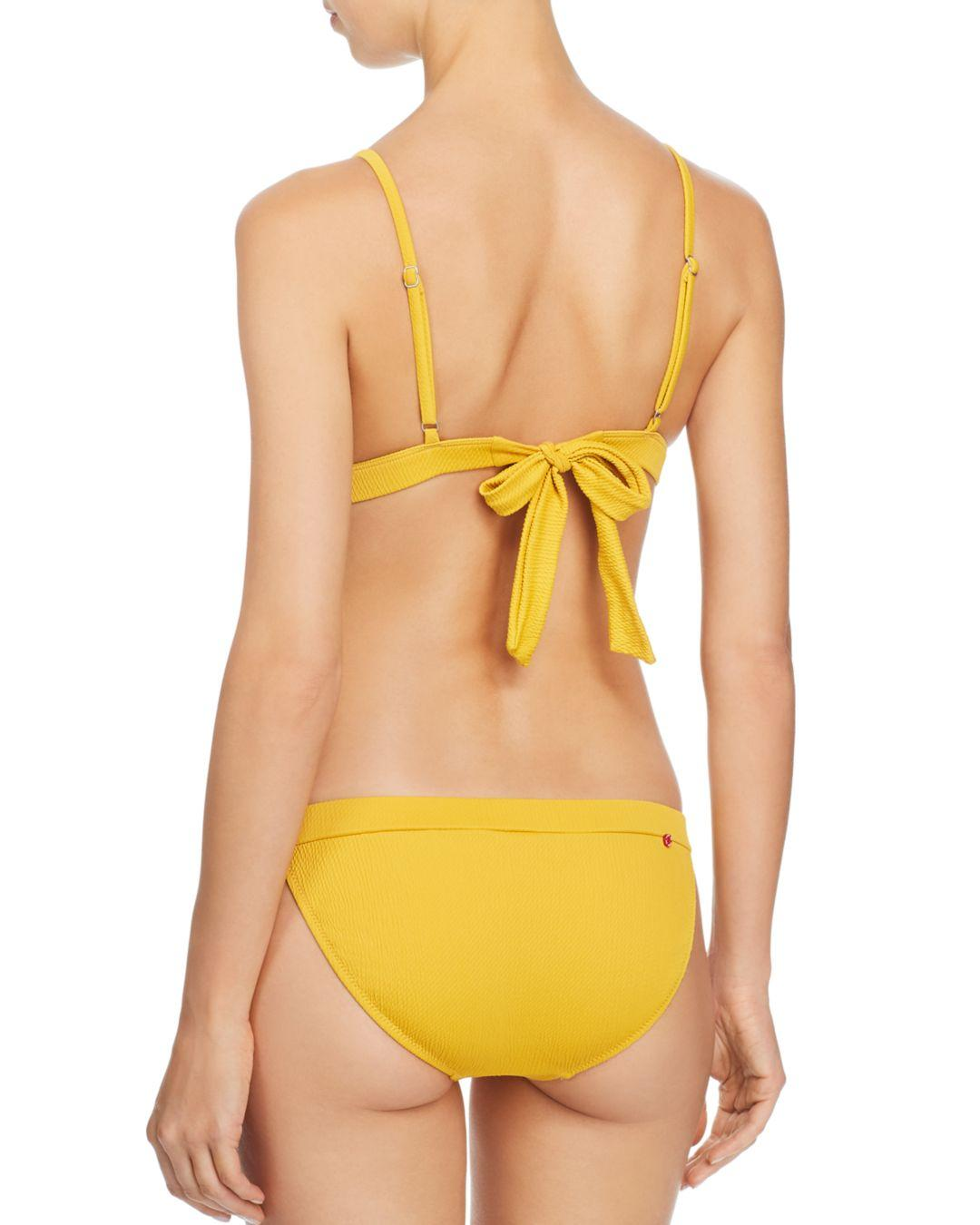 5aa9d2f688e Lyst - Red Carter Button-detail Textured Bikini Bottom in Yellow