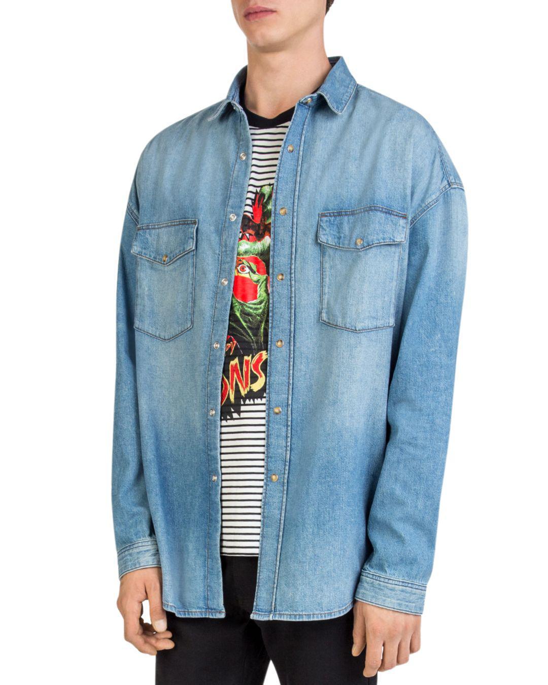 1469de240ea The Kooples Oversized Faded Denim Shirt in Blue for Men - Lyst