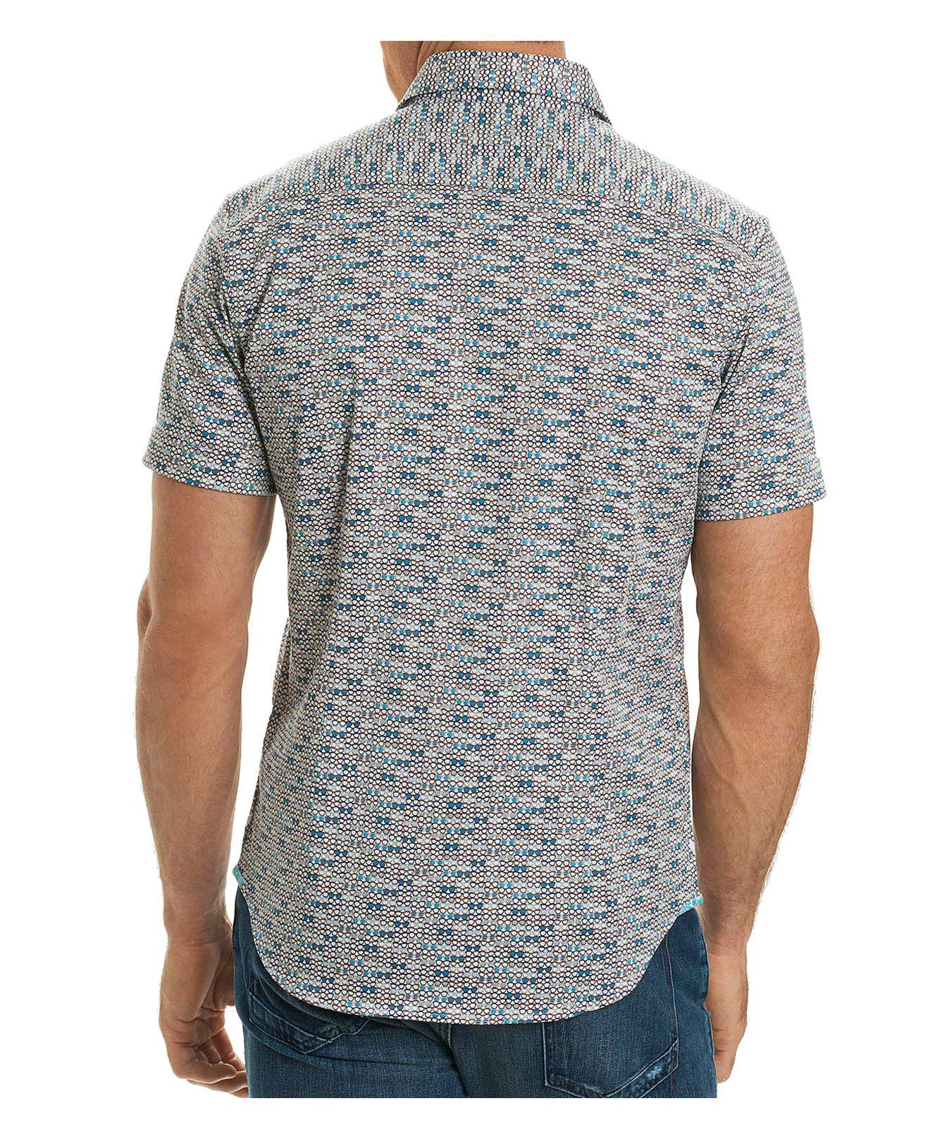 Lyst robert graham colton short sleeve button down shirt for White short sleeve button down shirts for men