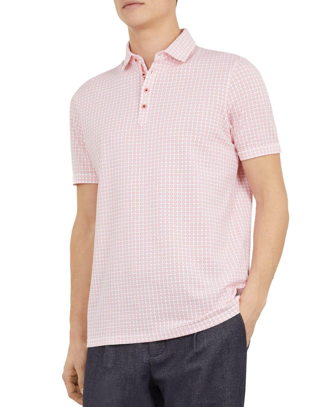 a112a006 Ted Baker Flee Geometric Print Regular Fit Polo Shirt in Pink for ...