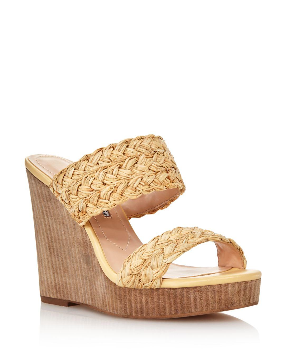 a087cd57e8 Charles David Women's Tifa Raffia Wedge Sandals in Natural - Save 30 ...
