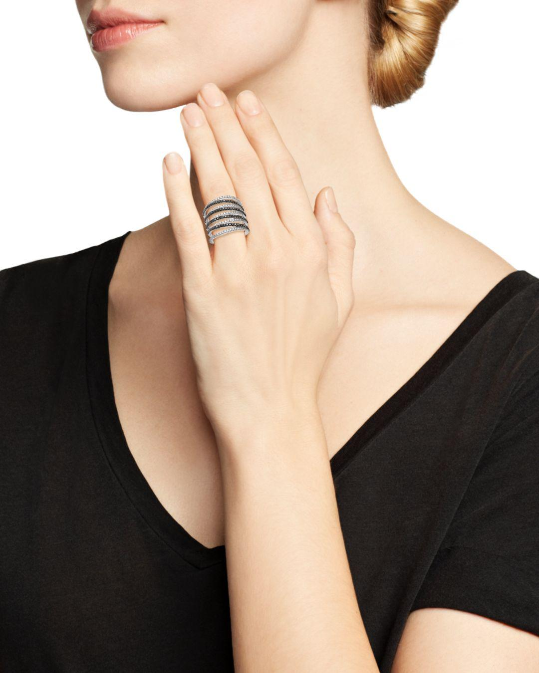 Bloomingdale's Black And White Diamond Micro Pavé Ring In 14k White Gold