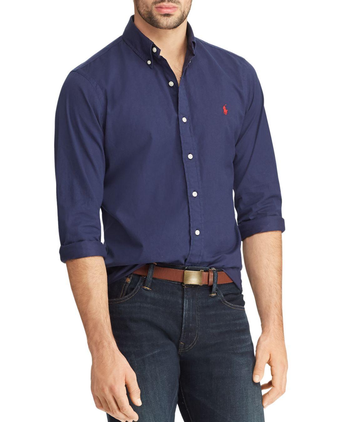 f2884b45f00 Lyst - Polo Ralph Lauren Slim Fit Button-down Twill Shirt in Blue ...
