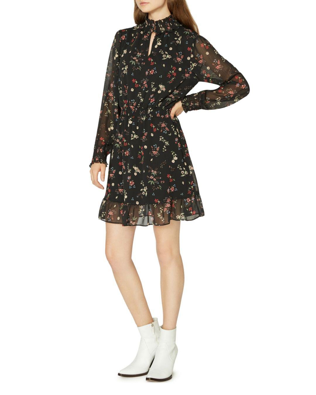 Sanctuary Floral Print Smocked Dress In Black Lyst