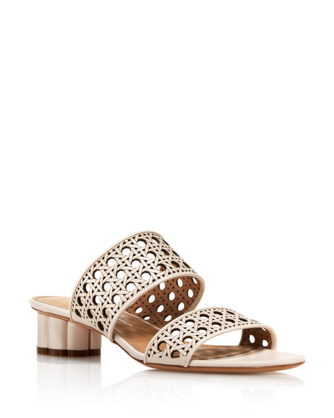 fe6e33712a12 Lyst - Ferragamo Women s Woven Leather Flower Heel Sandals