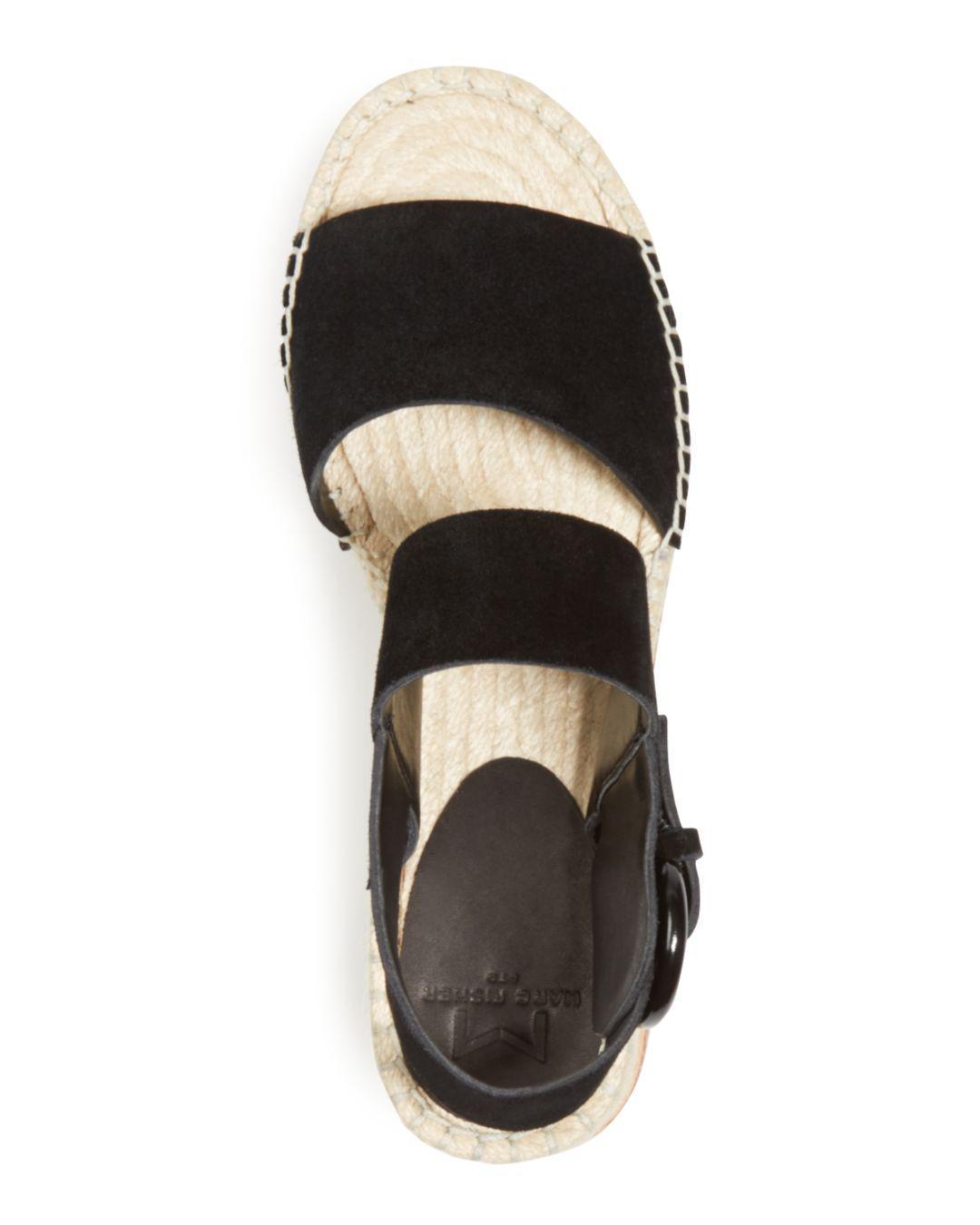 c8e84fd42a2c Marc Fisher - Black Women s Greely Suede Espadrille Wedge Platform Sandals  - Lyst. View fullscreen