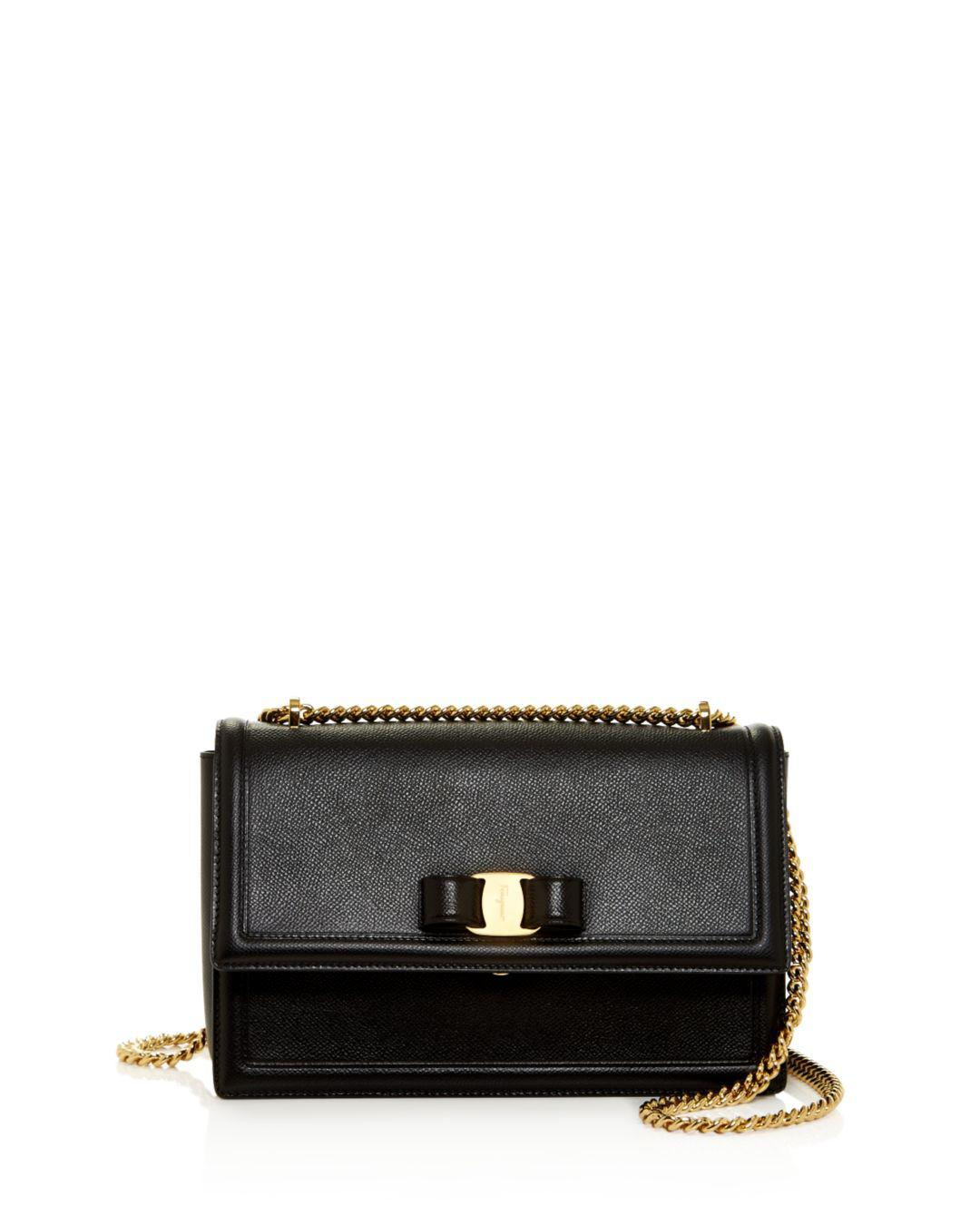 59953cbe0df Ferragamo. Women s Black Medium Ginny Calfskin Shoulder Bag.  1,250 From  Bloomingdale s