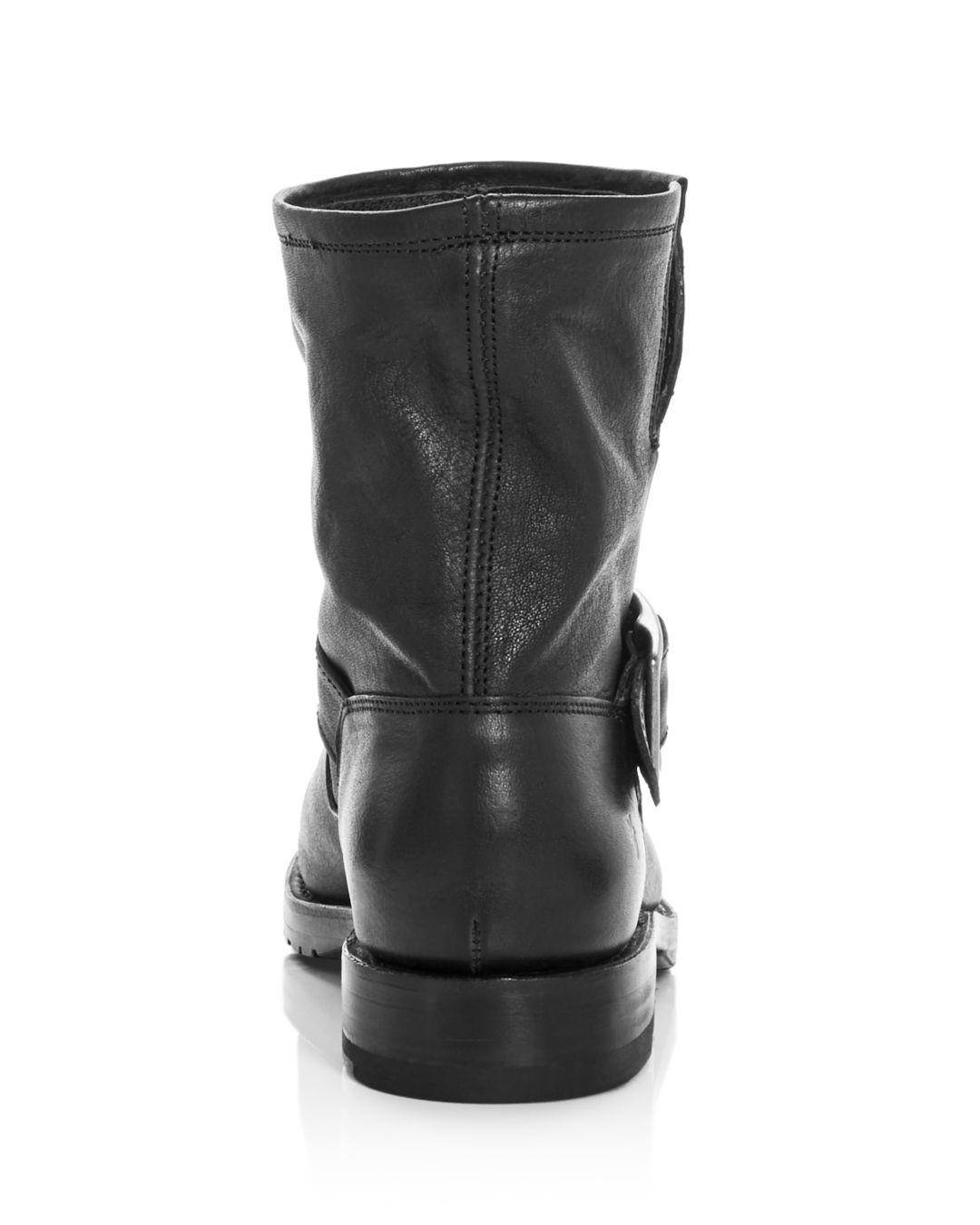 Frye Women's Natalie Leather Short Engineer Booties in Black