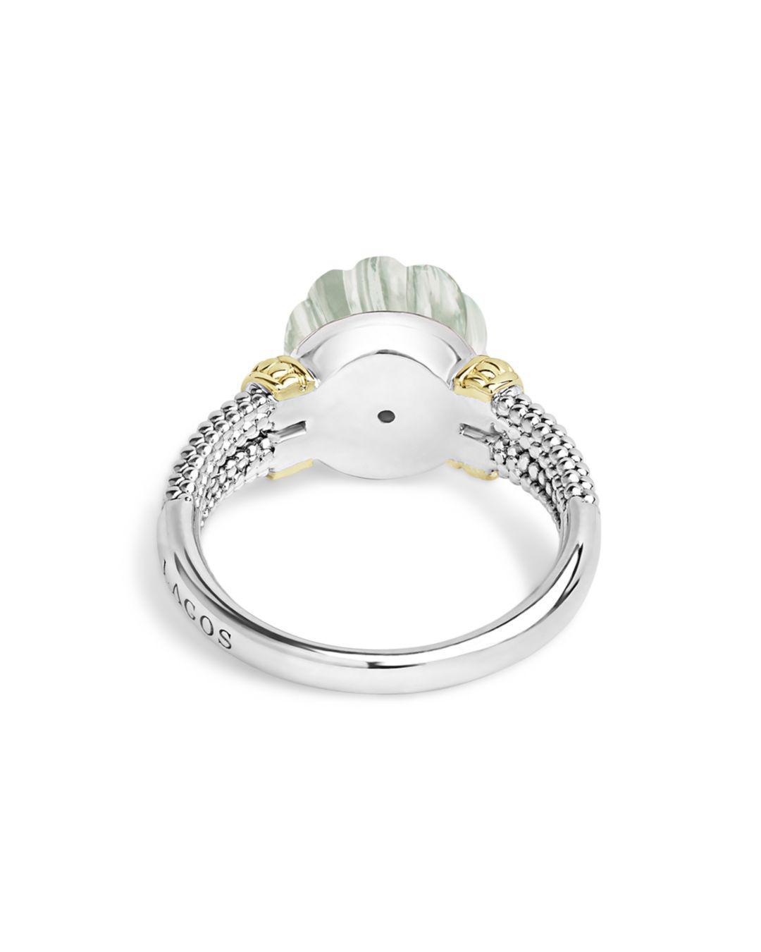 Lagos 18k Gold & Sterling Silver Caviar Forever Diamond & Green Amethyst Melon Bead Ring in Green/Silver (Metallic)