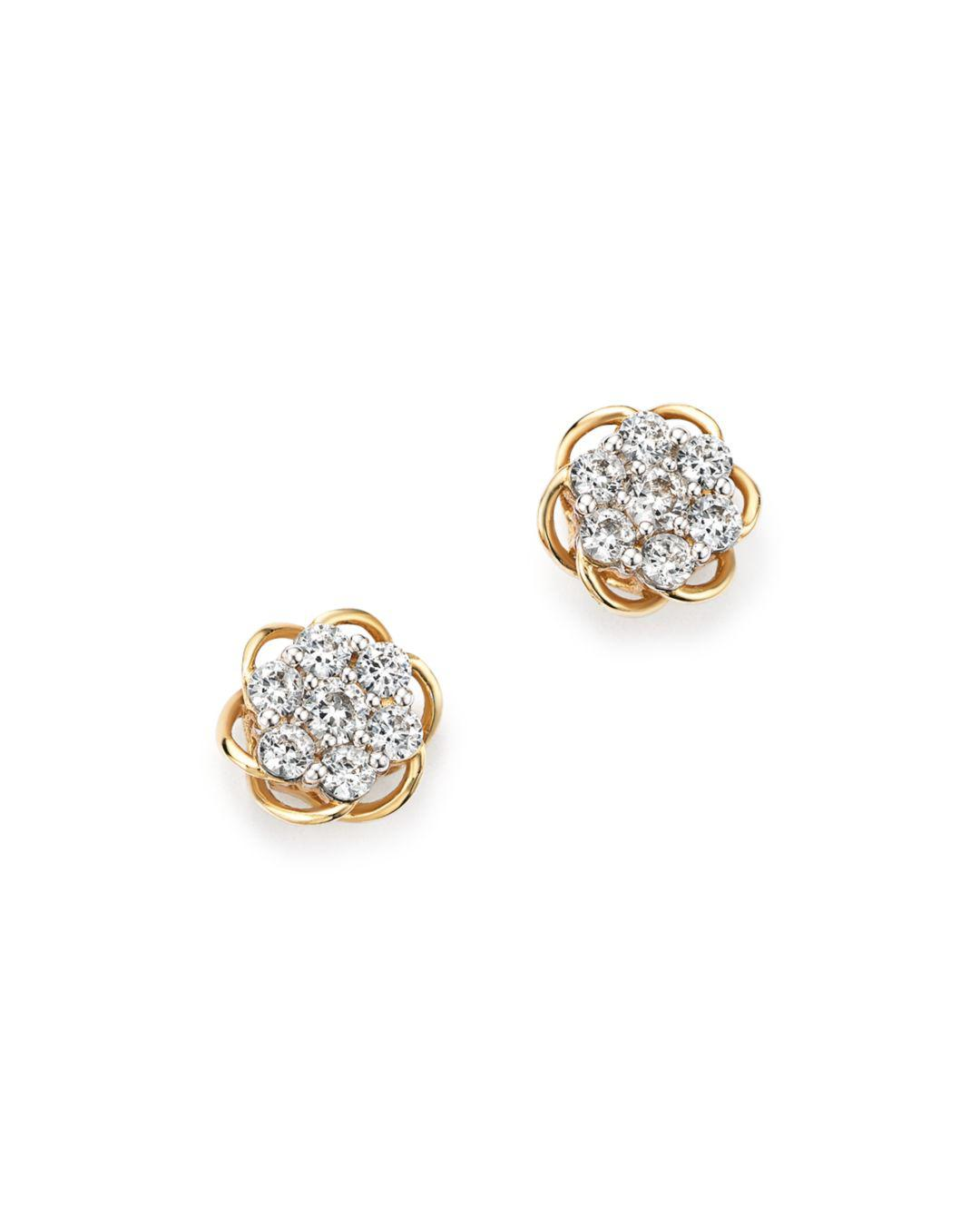 Bloomingdale S Multicolor Diamond Flower Stud Earrings In 14k Yellow And White Gold 50 View Fullscreen