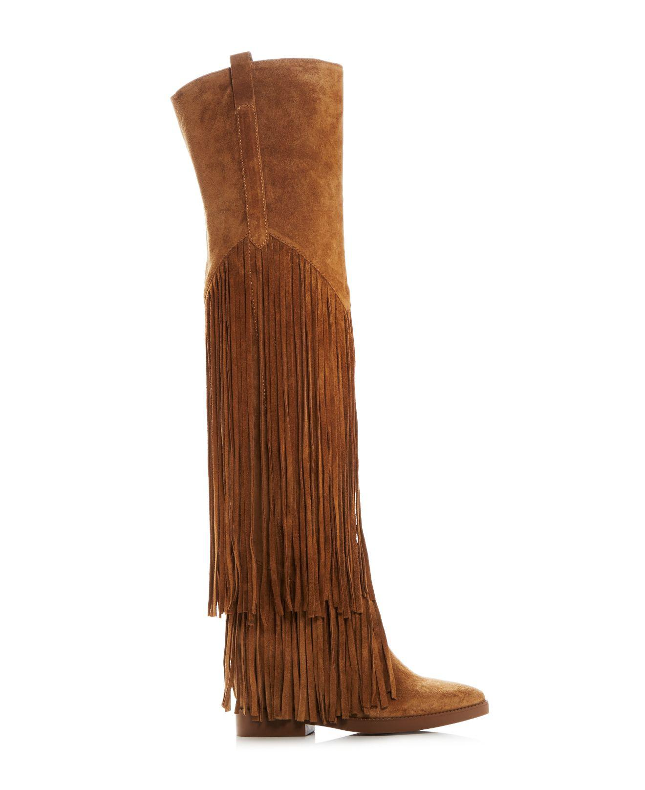 Ash Suede Gipsy Fringe Over The Knee Hidden Wedge Boots in Brown