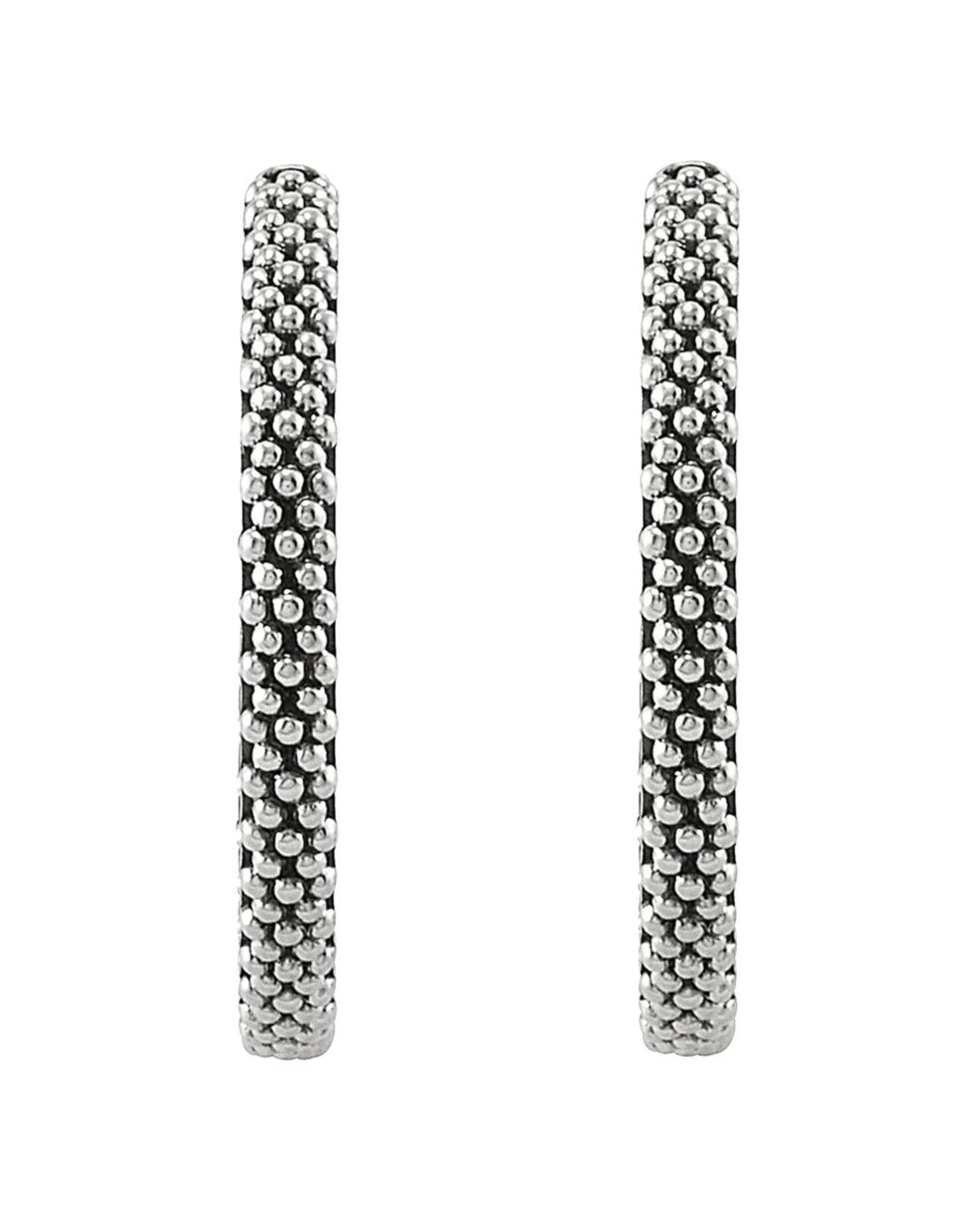 228ab1089 Lagos Sterling Silver Signature Caviar Hoop Earrings in Metallic - Lyst