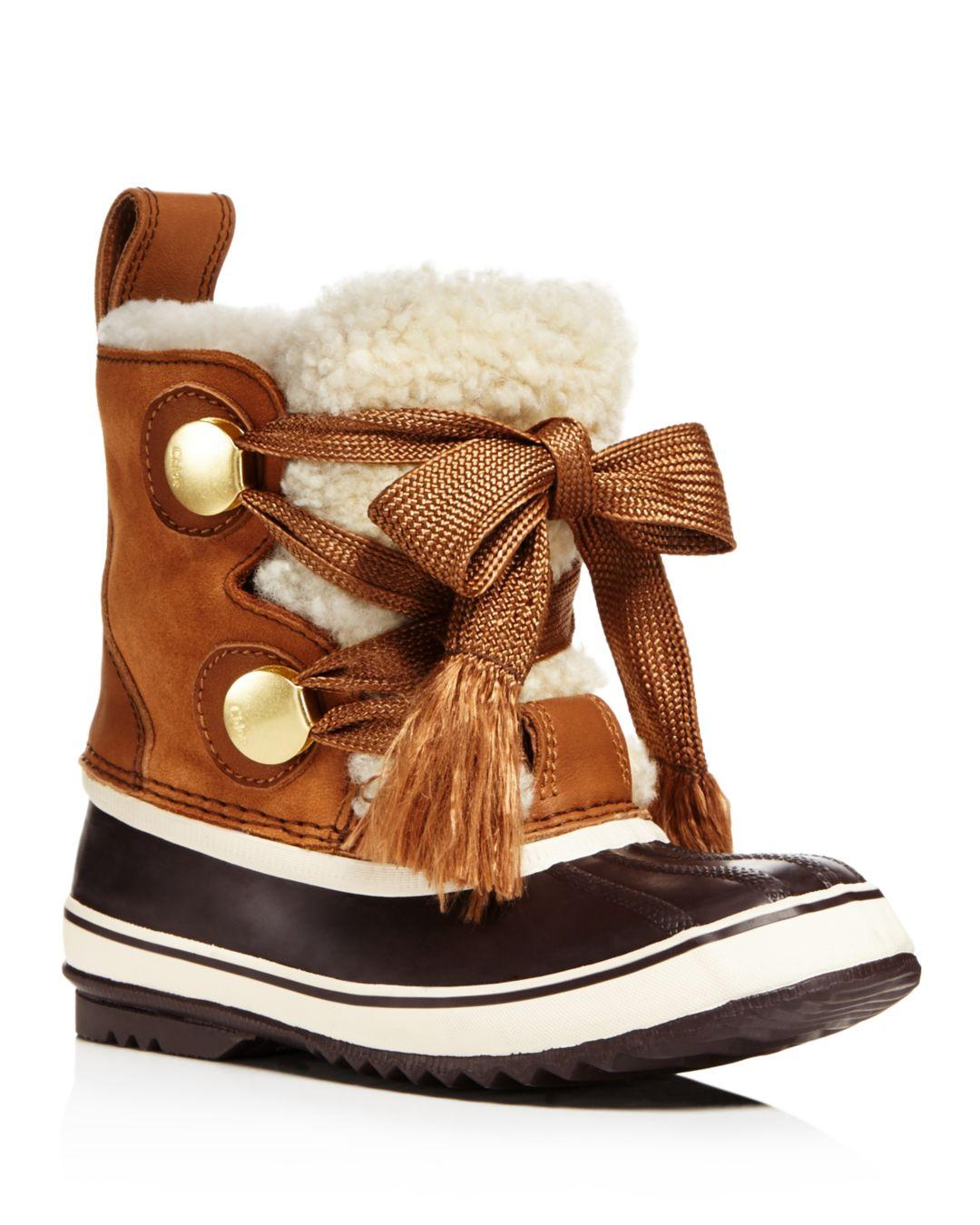 Chlo 233 Sorel Crosta Leather Trimmed Suede And Shearling