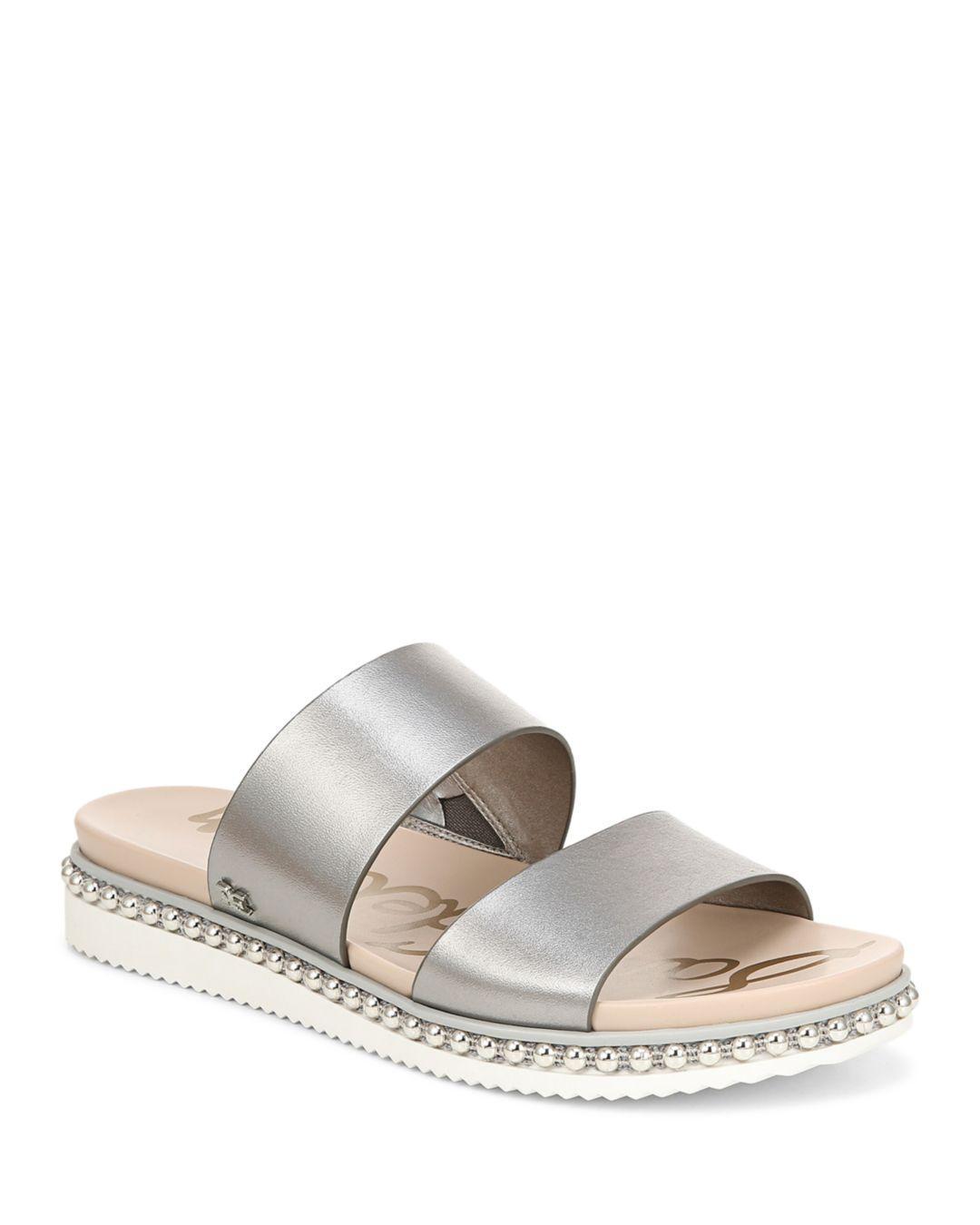 21c0083bb36d Lyst - Sam Edelman Women s Asha Studded Leather Slide Sandals - Save 26%