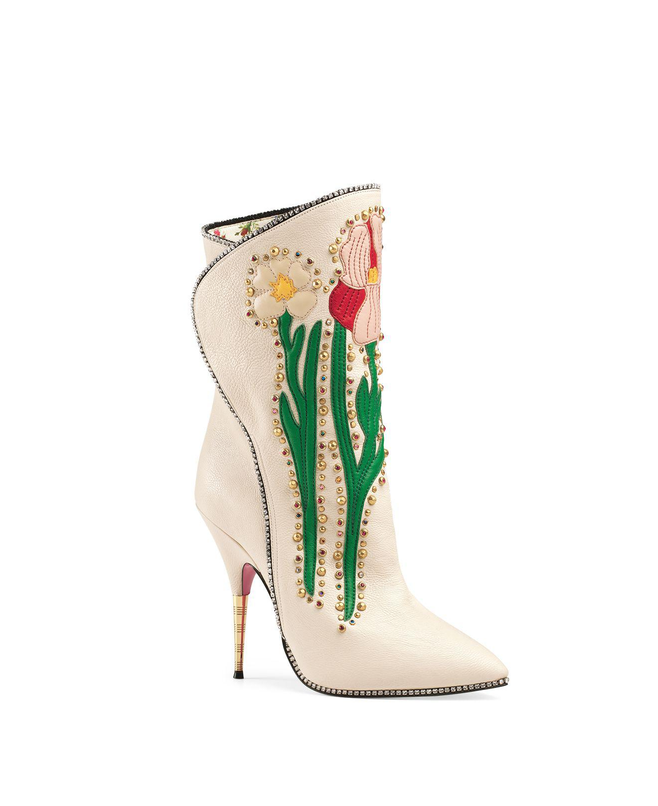 Gucci Fosca Crystal Embroidered Booties