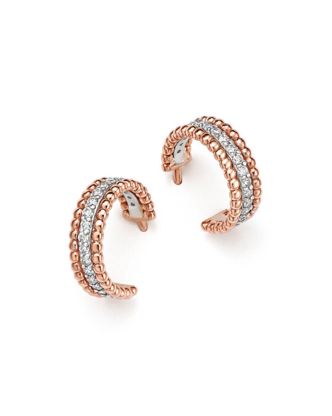 b27037f3103711 Bloomingdale's Diamond Beaded Huggie Hoop Earrings In 14k White And ...