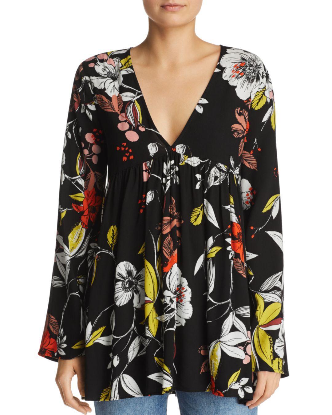 73dbba011c0 Free People Bella Floral - Print Tunic Mini Dress in Black - Lyst