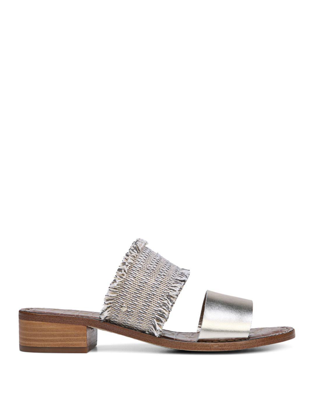 86d13dd24 Lyst - Sam Edelman Women s Jeni Metallic Leather   Fringe Slide ...